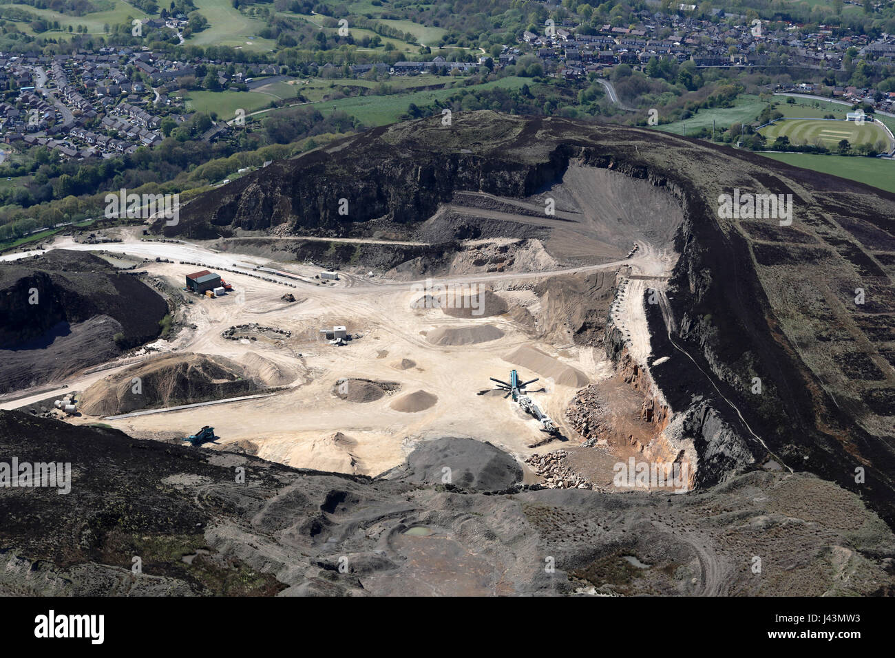 aerial view of a quarry in the Pennines, UK - Stock Image