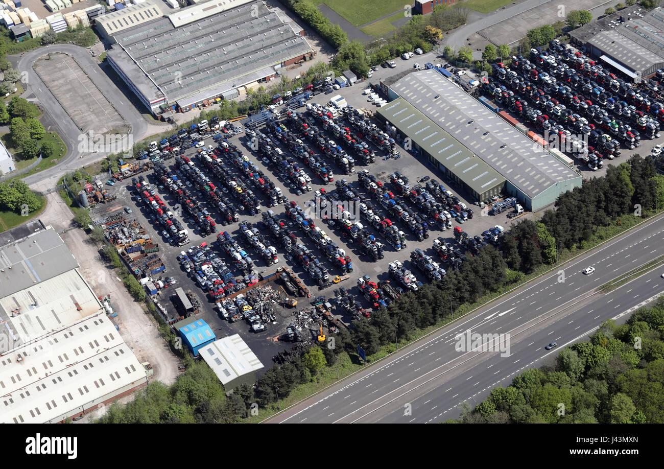 aerial view of a car scrapyard breakers yard, Lancashire, UK - Stock Image