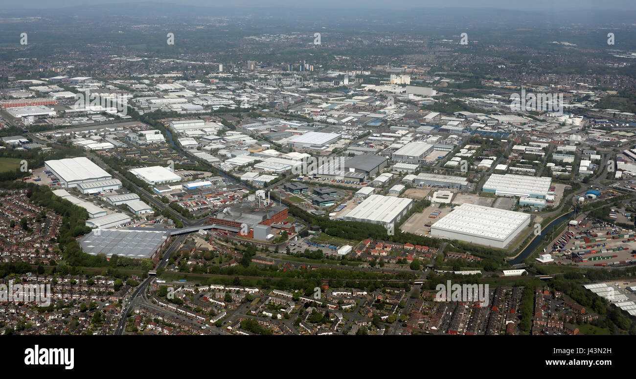 aerial view of Trafford Park Industrial Estate, Manchester, UK - Stock Image