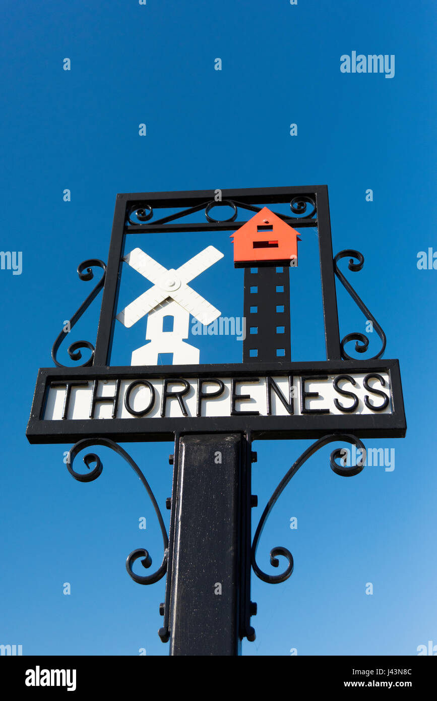 The village sign at Thorpeness Suffolk UK - Stock Image
