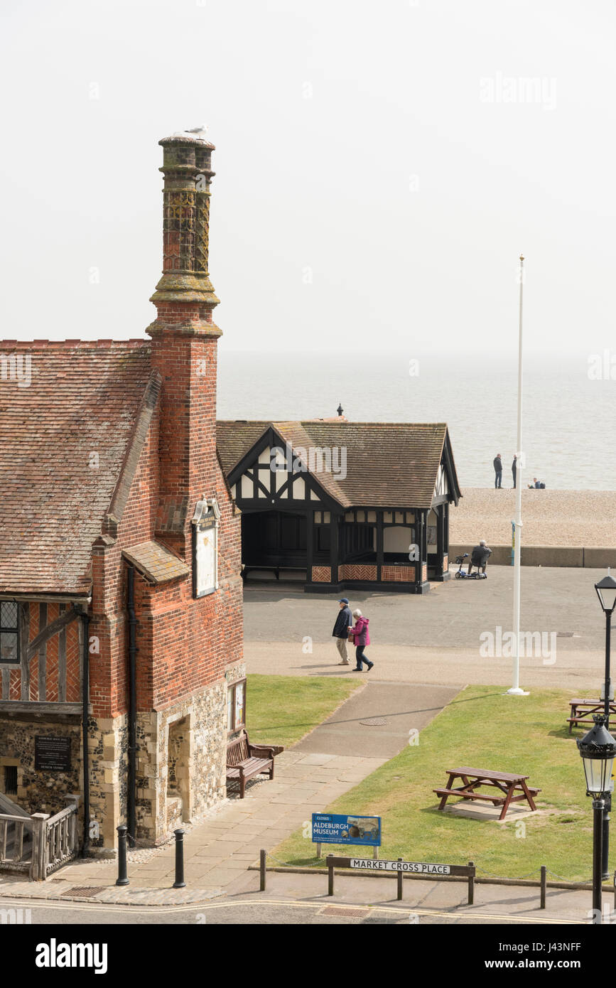 The Moot Hall and seafront promenade at Aldeburgh Suffolk UK - Stock Image