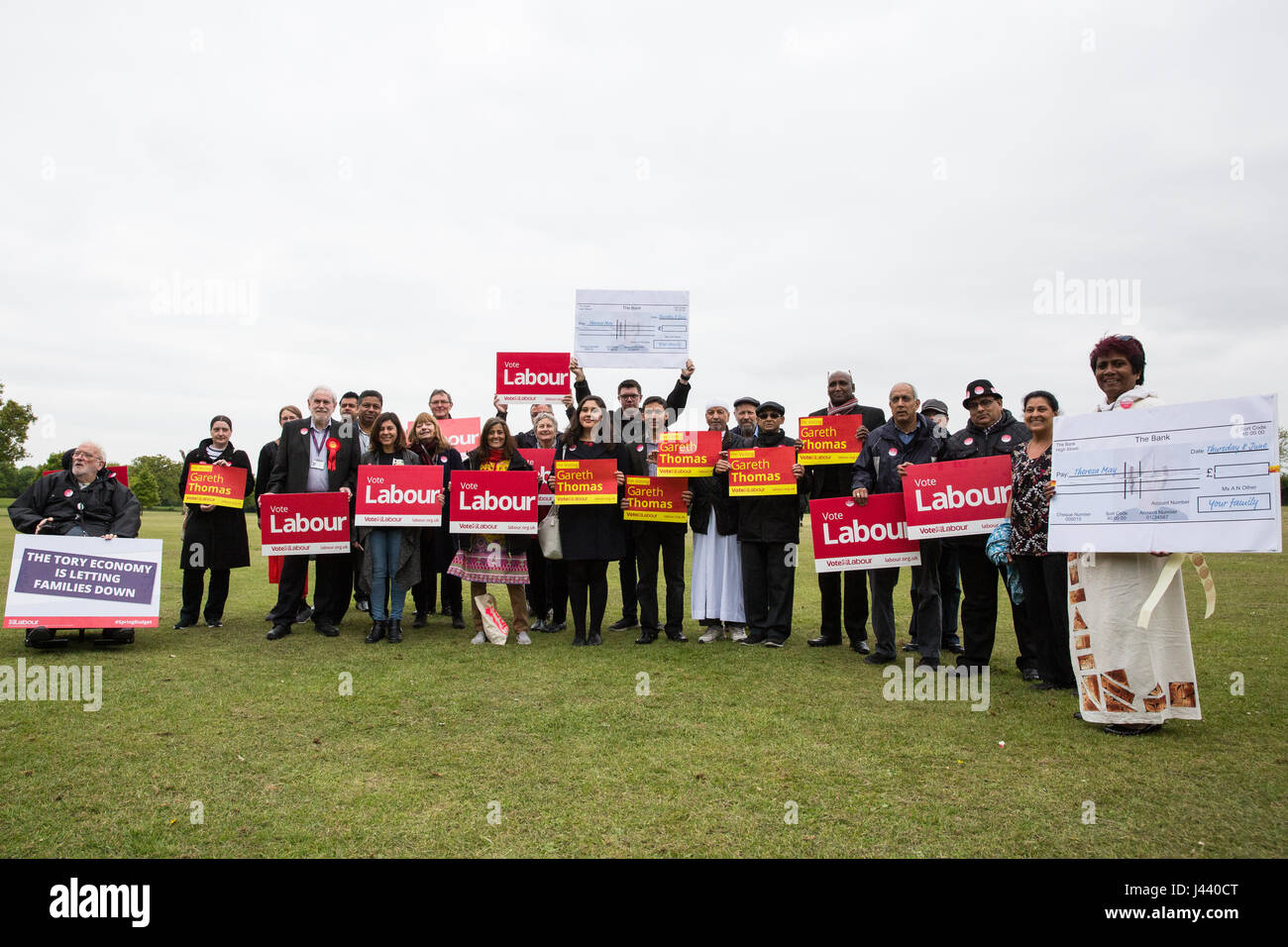 London, UK. 9th May, 2017. Sadiq Khan, Mayor of London, campaigns in South Harrow with Gareth Thomas, Labour and - Stock Image