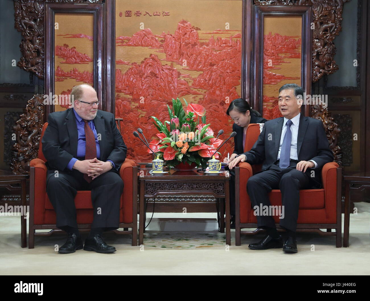 Beijing, China. 9th May, 2017. Chinese Vice Premier Wang Yang (R) meets with Adam Posen, president of the Peterson Stock Photo