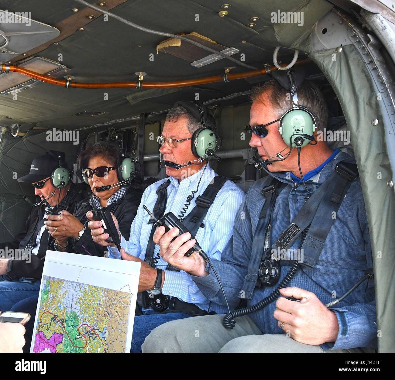 U.S. Secretary of the Interior Ryan Zinke, right, during an aerial tour by helicopter of the Bears Ears National Stock Photo