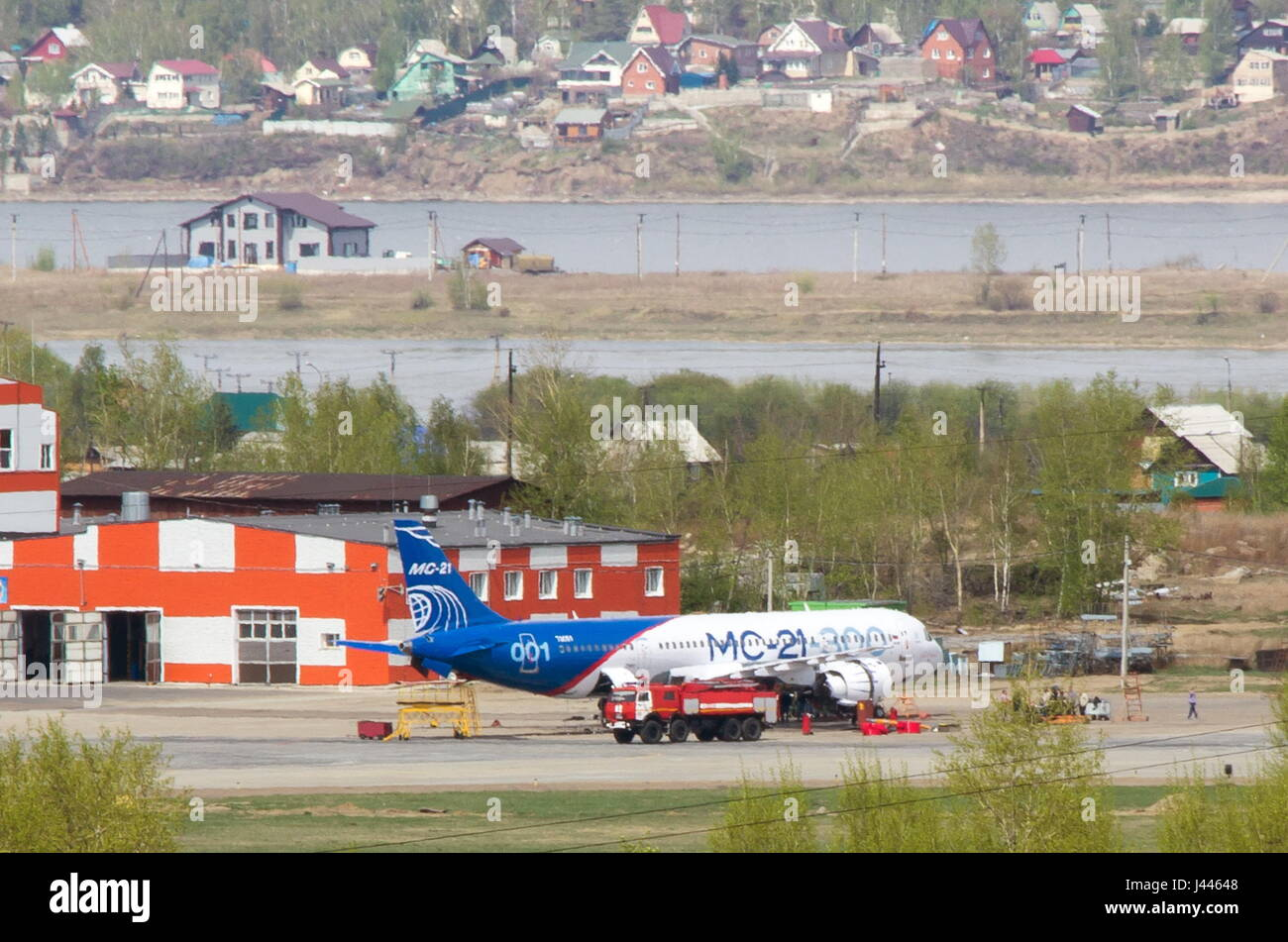 Irkutsk, Russia. 9th May, 2017. The Irkut MC-21 Russian jet airliner wheeled out of a final assembly facility for - Stock Image