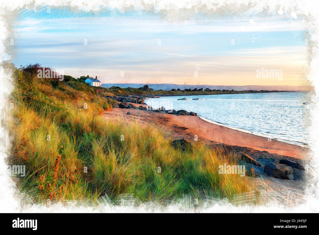 A water colour painting of the beach at Crow Point at Braunton Burrows near Barnstaple on the Devon coastline Stock Photo