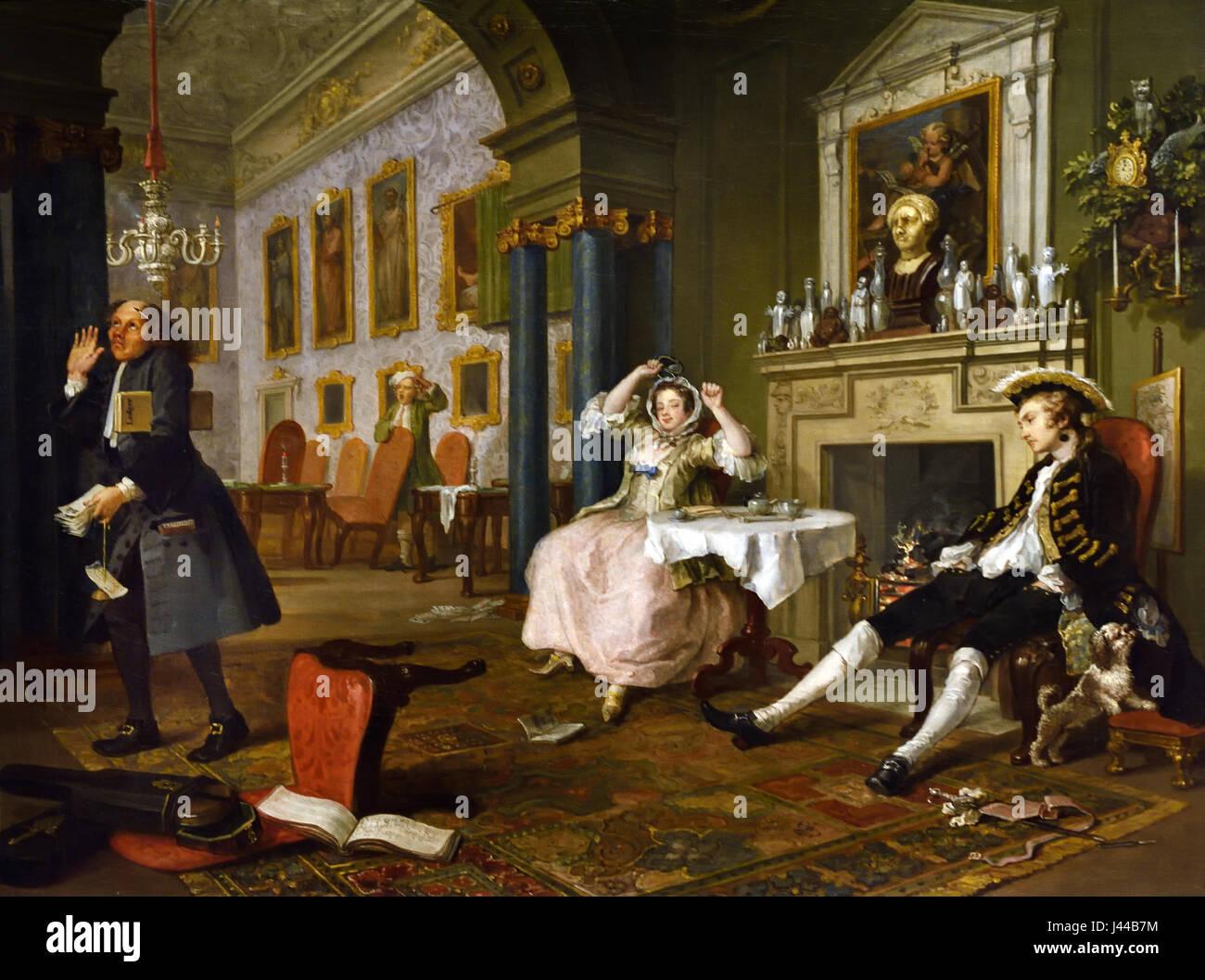 Marriage A-la-Mode: 2, The Tête à Tête 1743, William Hogarth 1697 - 1764 United Kingdom, England, - Stock Image