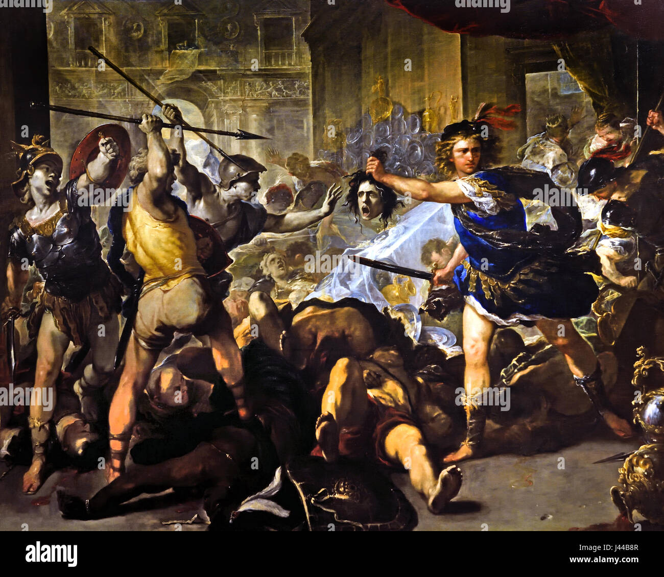 Perseus turning Phineas and his Followers to Stone 1680 Luca Giordano 1634 - 1705 Phineas, until Perseus rescued - Stock Image