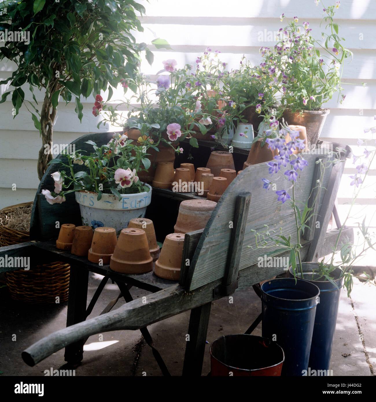 Flower pots on wooden cart - Stock Image