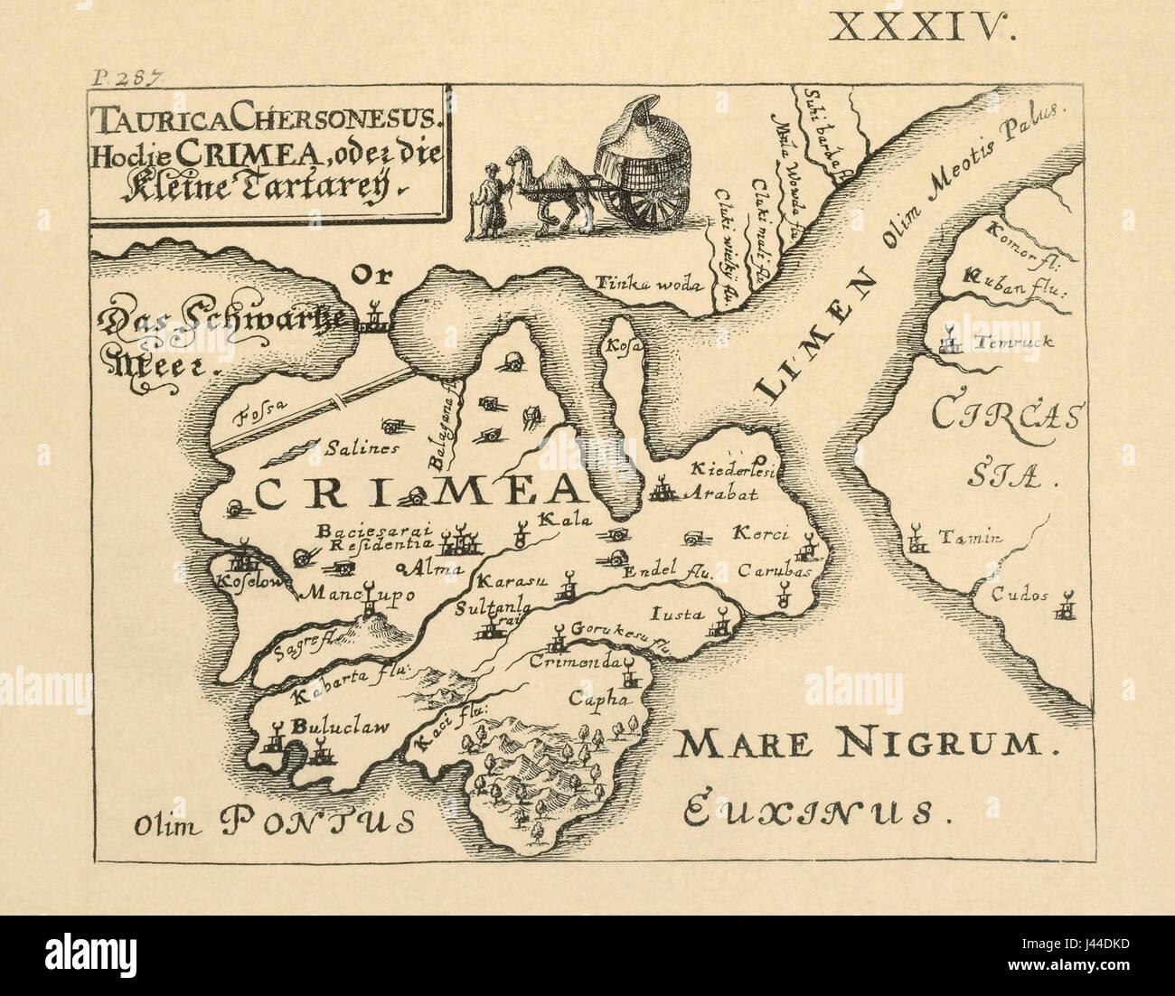 Map of Crimea published in Kiev, 1899. - Stock Image