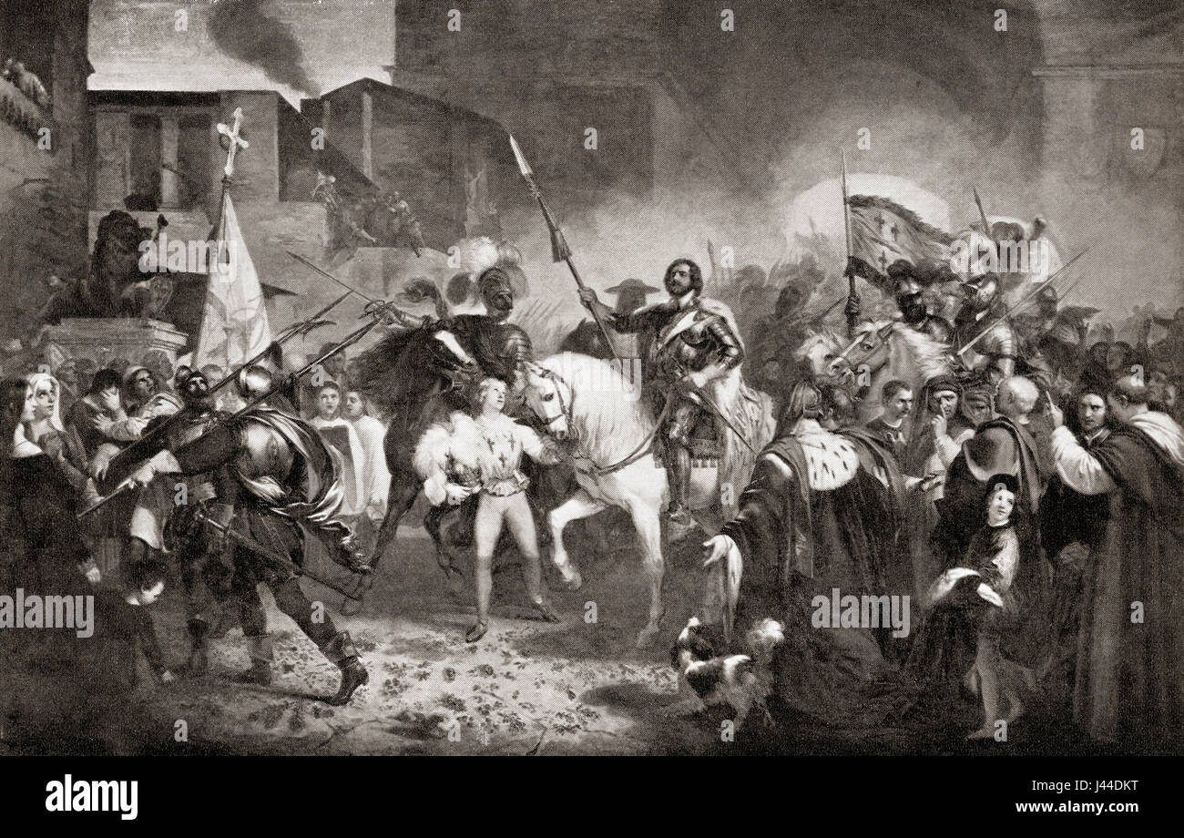 The entry of Charles VIII into Florence, Italy in 1495 during the Italian  War of 1494–1498. Charles VIII, called the Affable, 1470 – 1498. King of  France.