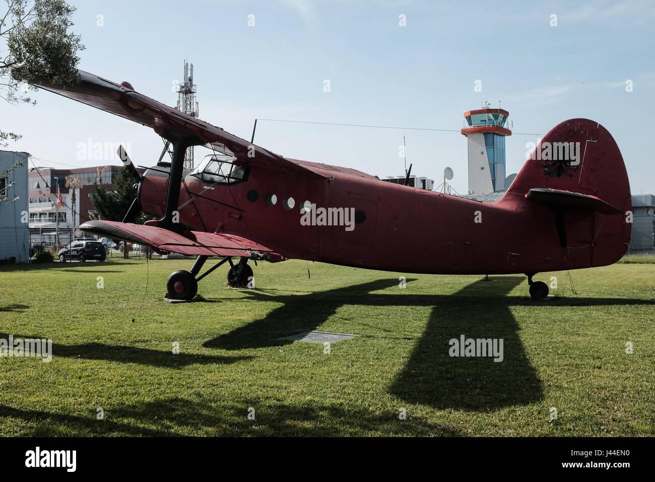 An Antonov AN-2 biplane on display at Tirana International Airport Nënë Tereza (Mother Teresa). Also known - Stock Image