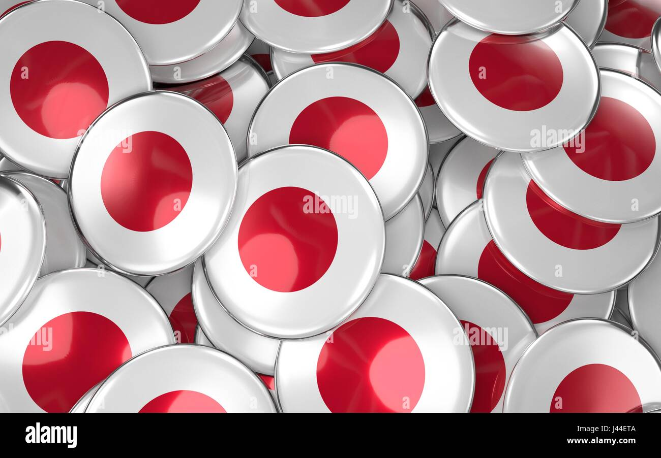 Japan Badges Background - Pile of Japanese Flag Buttons. 3D Rendering Stock Photo