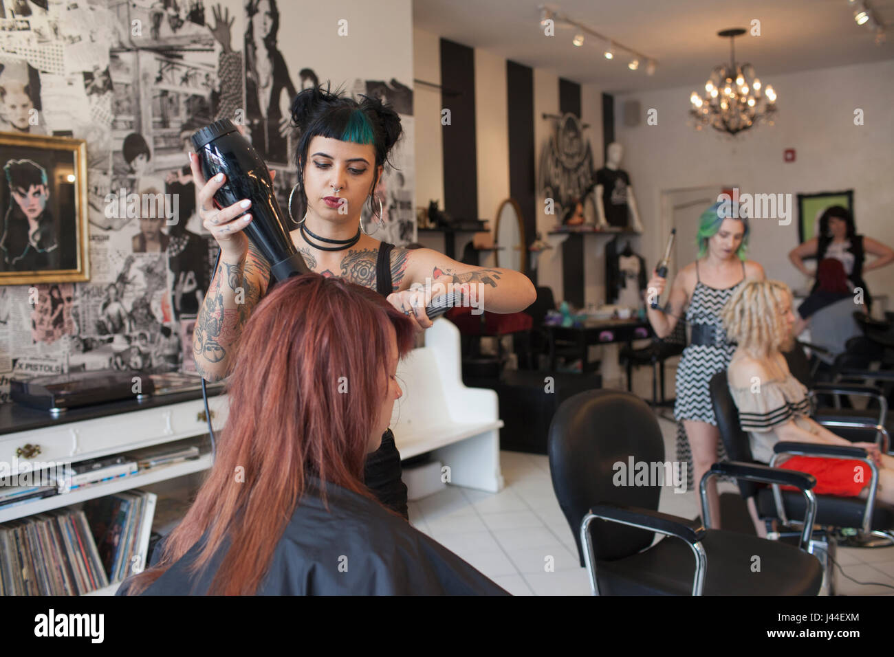 A hair dresser styling a customer's hair. - Stock Image