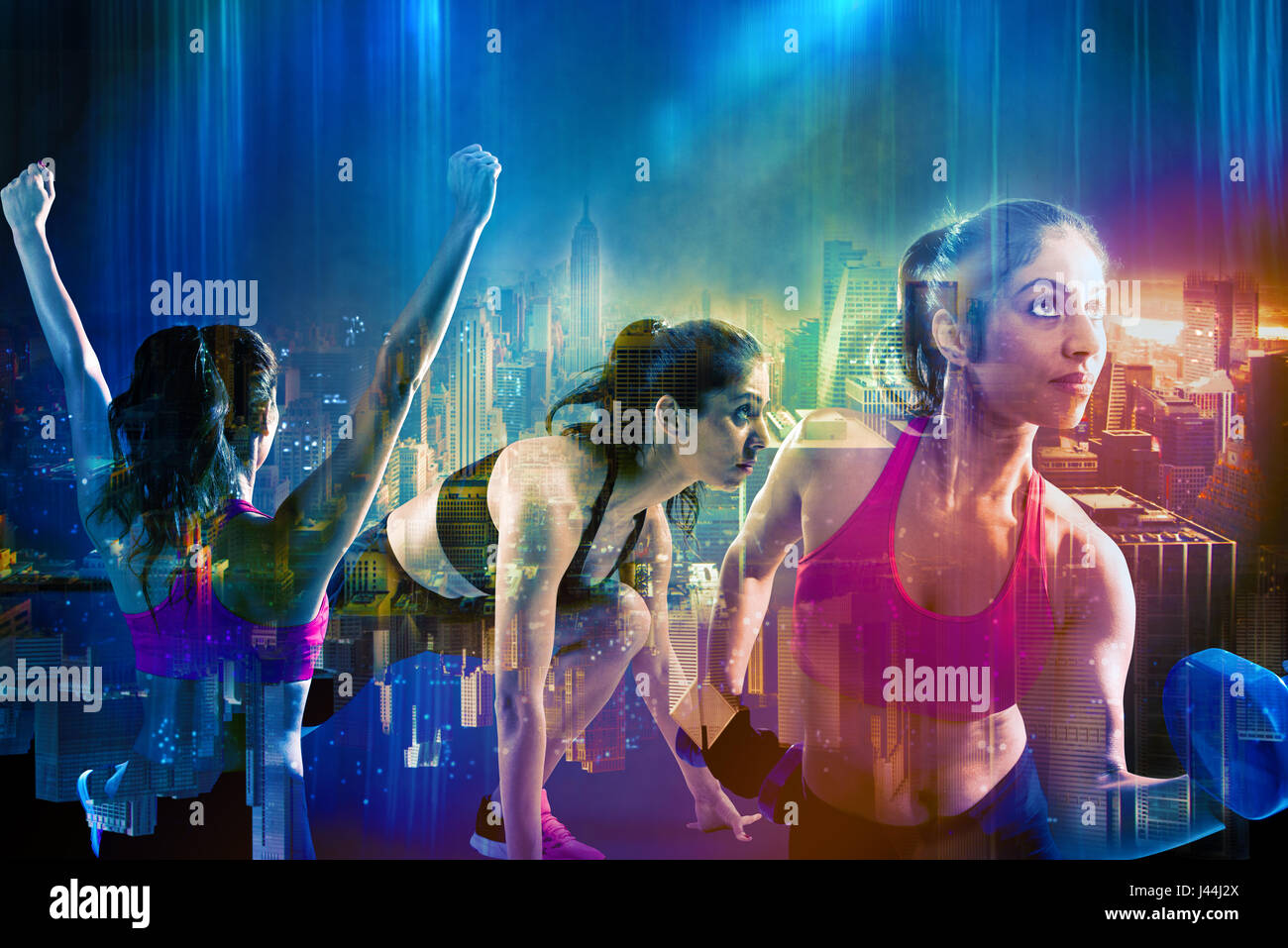 Athletic woman workout on city background - Stock Image