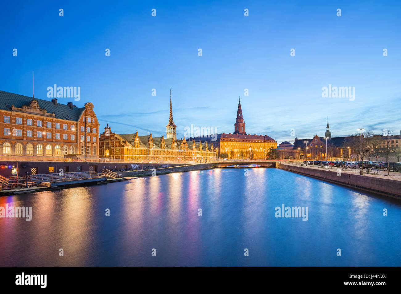 Copenhagen city view of Christiansborg Palace at night in Copenhagen, Denmark - Stock Image