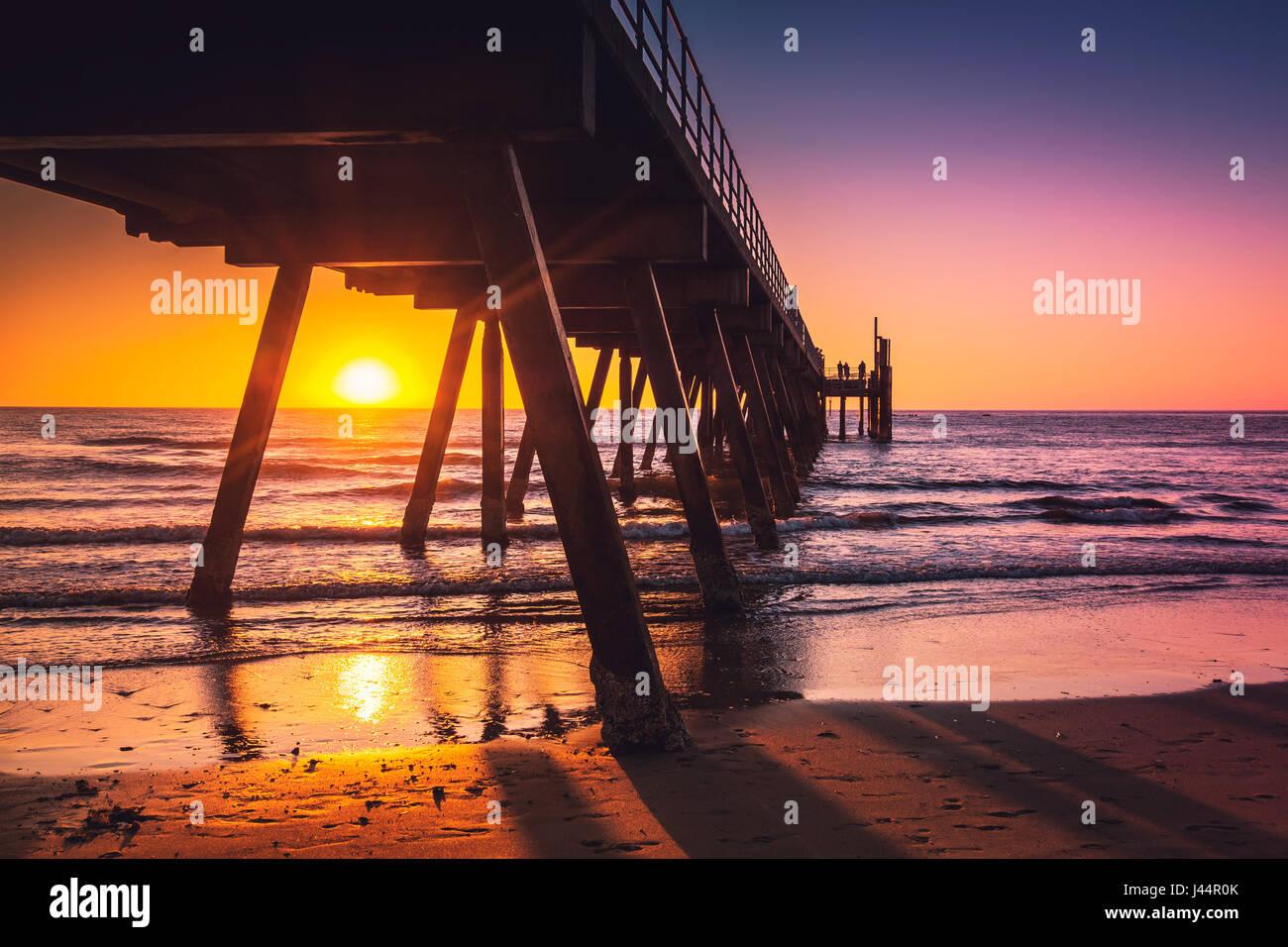 Glenelg beach jetty at sunset, Adelaide, South Australia - Stock Image