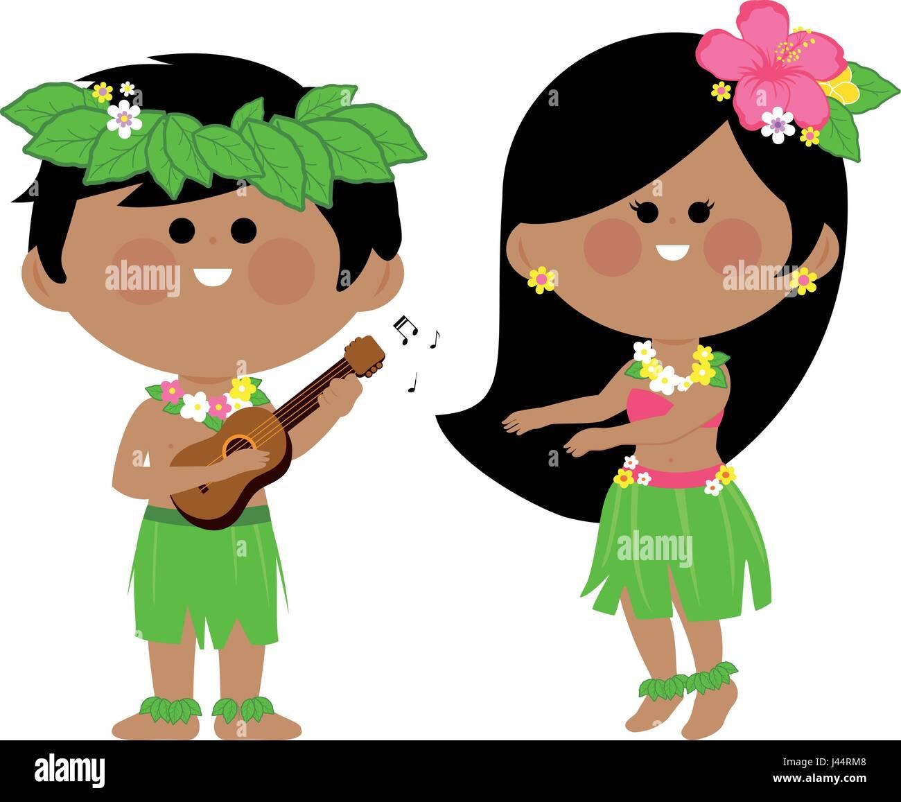 Hawaiian children playing music and hula dancing - Stock Vector