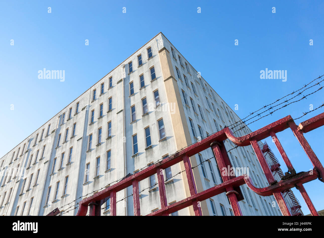 Security fence around a building - Stock Image