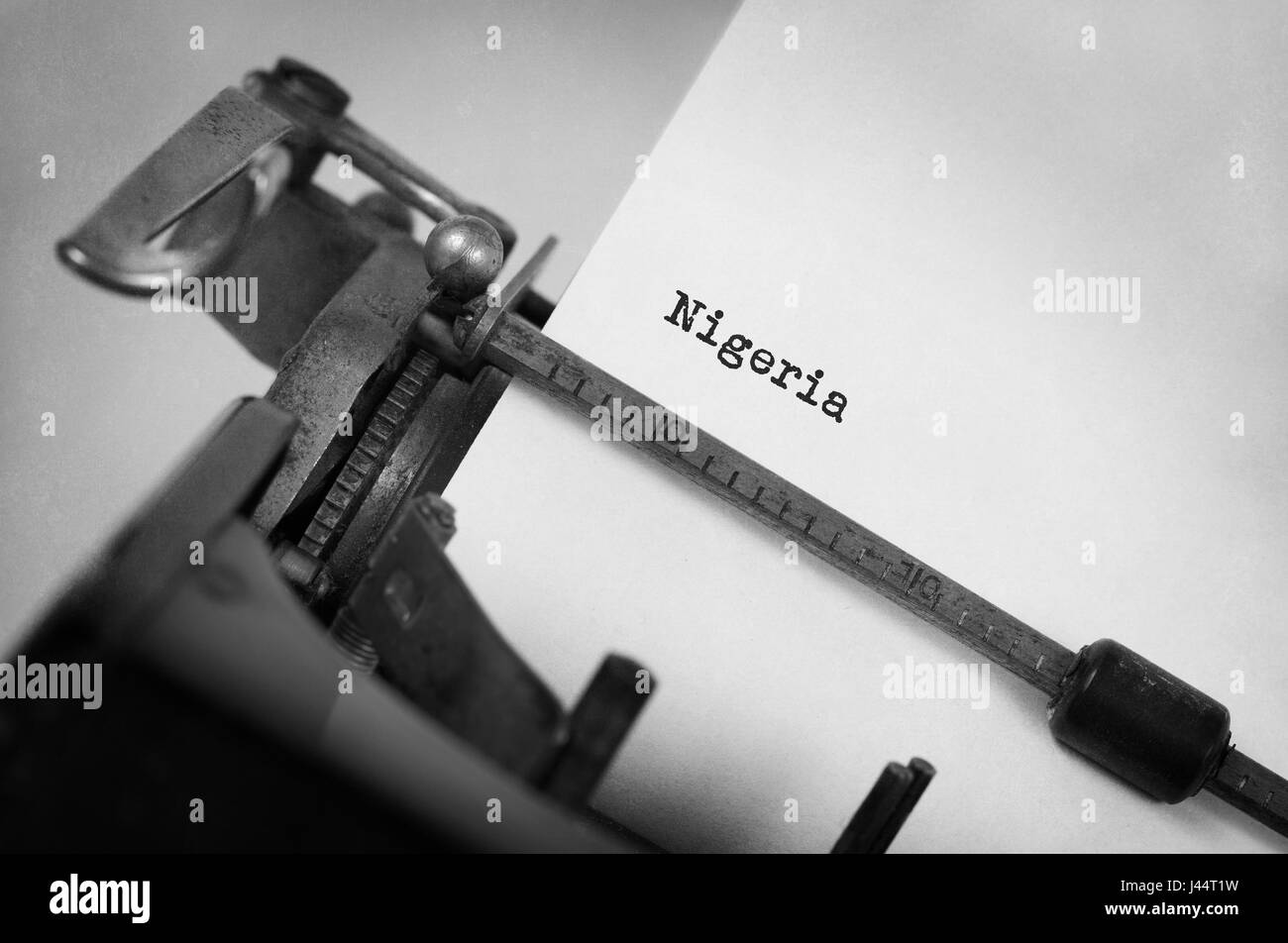 Inscription made by vinrage typewriter, country, Nigeria - Stock Image