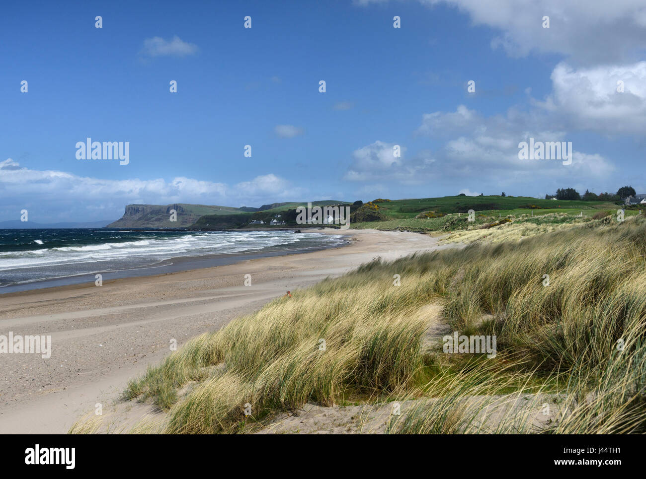The shoreline at Ballycastle on the Causeway coast of County Antrim in Northern Ireland - Stock Image