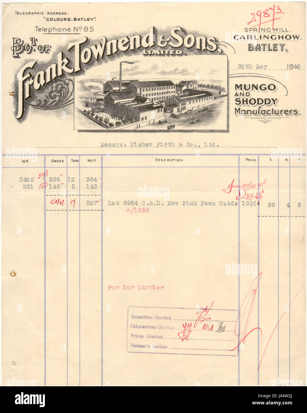 Invoice from Mungo and Shoddy manufacturer Frank Townend & Sons,  Batley, Yorkshire,  May 1940 - Stock Image