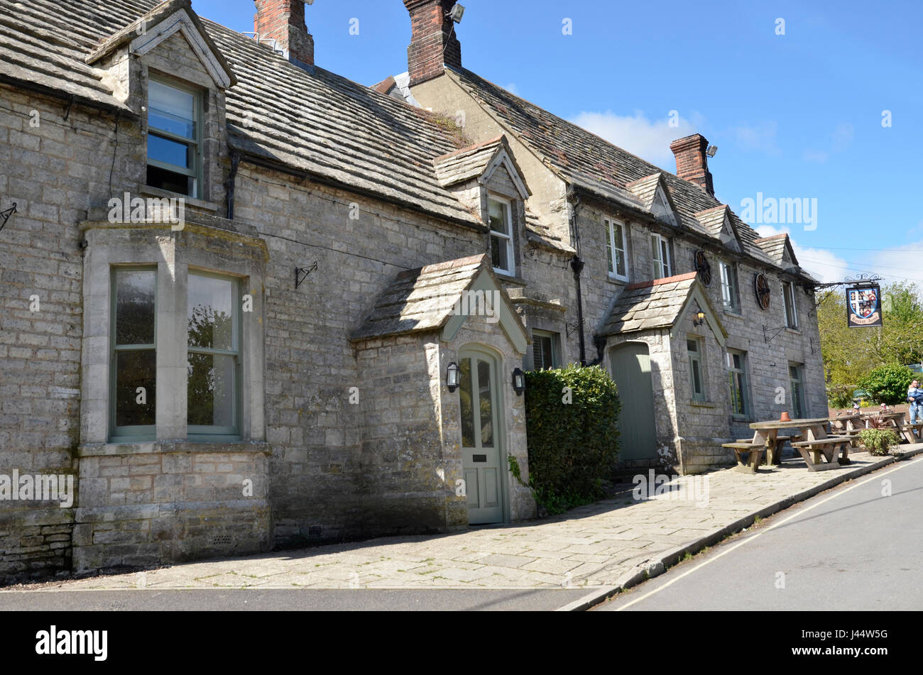 The Bankes Arms public house in Studland, Dorset, home of the Isle of Purbeck brewery - Stock Image
