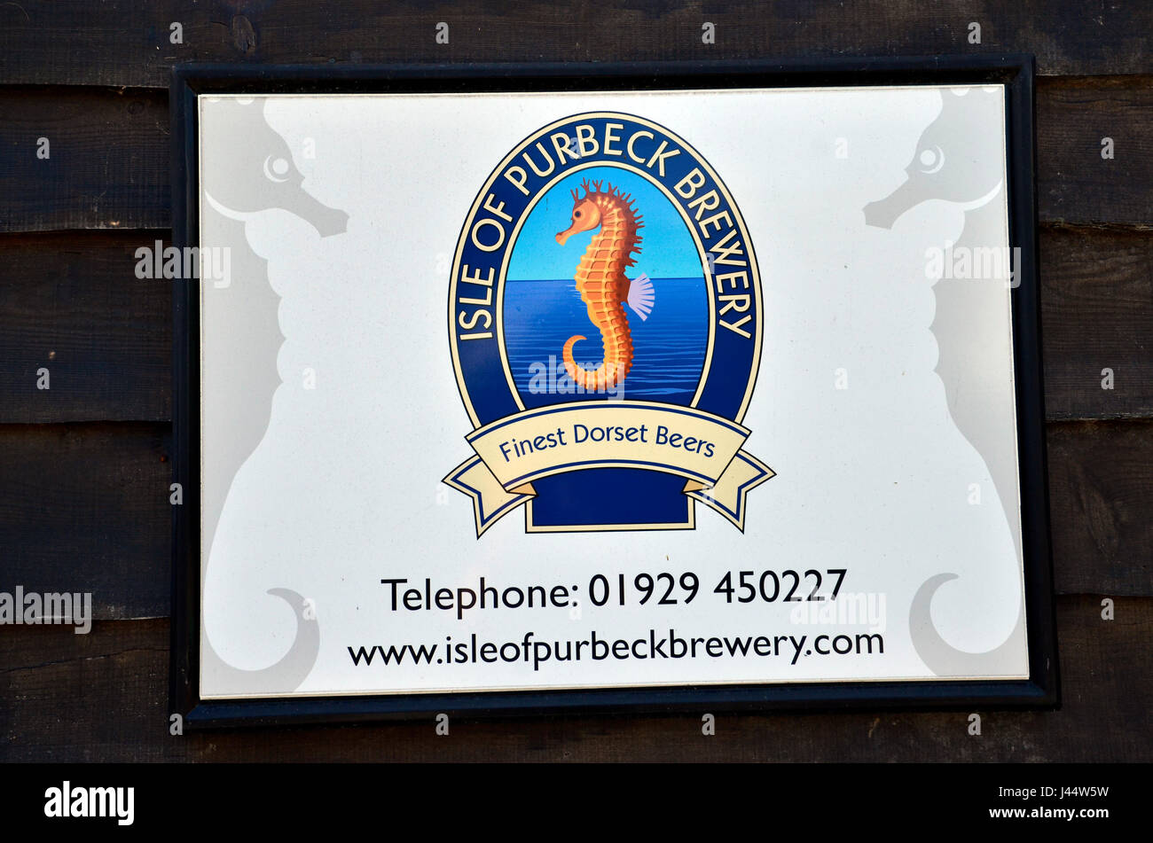 The Isle of Purbeck Brewery logo at the Bankes Arms pub in Studland, Dorset - Stock Image