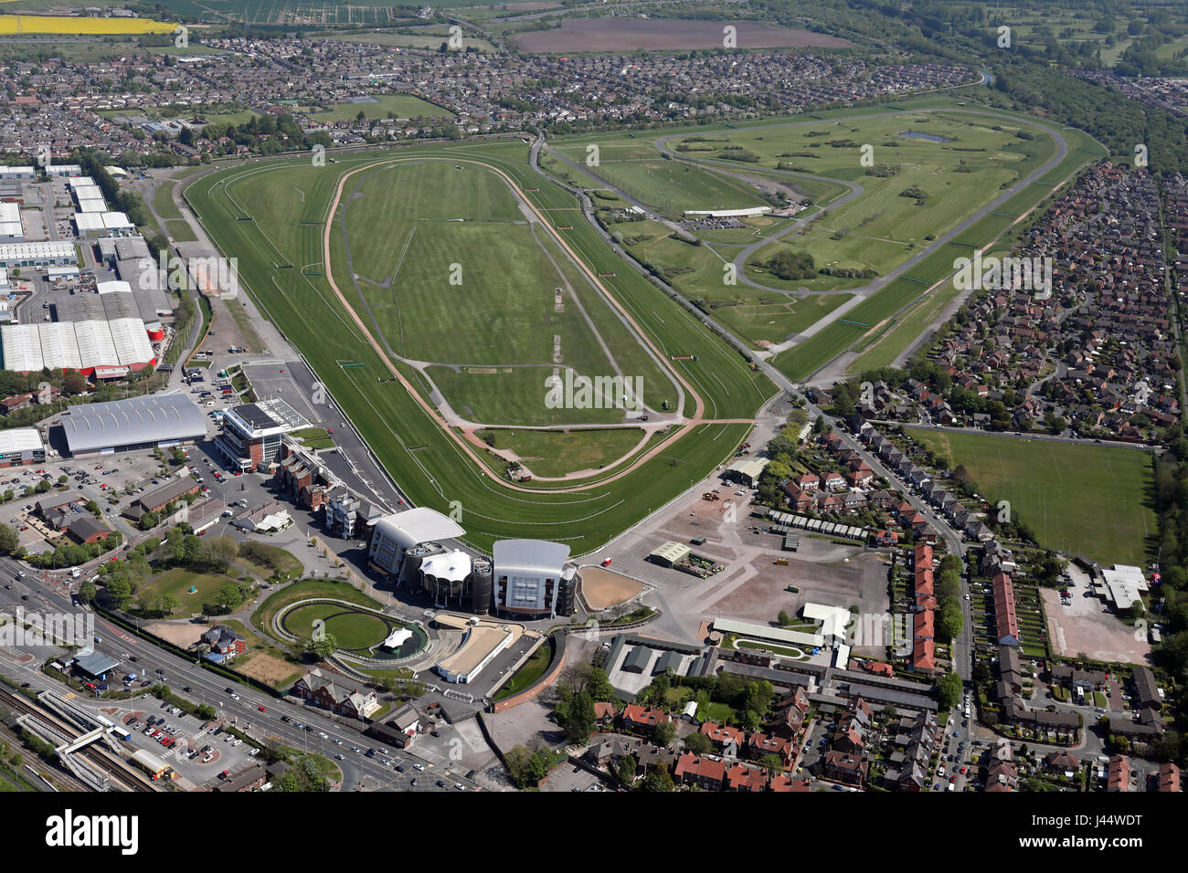 aerial view of Aintree Racecourse, home of the Grand National, Liverpool, UK Stock Photo