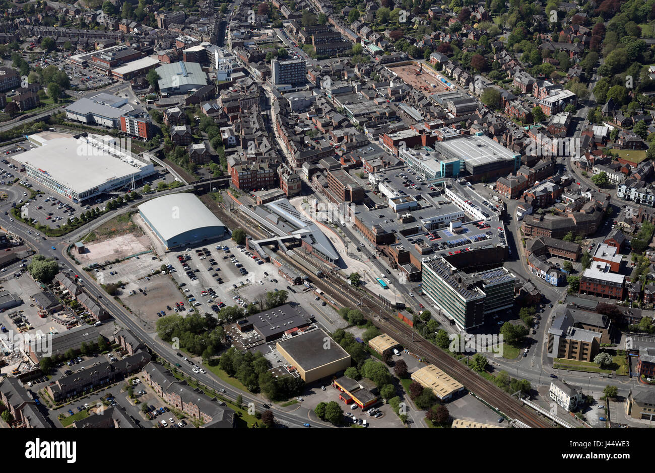 aerial view of Altrincham town centre, UK Stock Photo