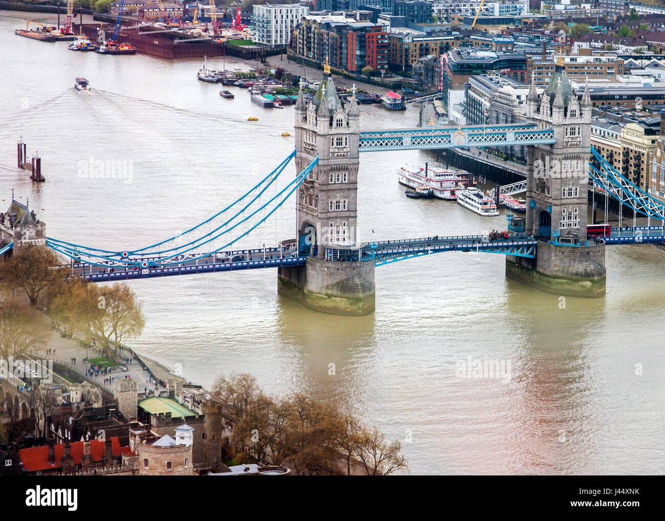 ariel view of Tower bridge and the river Thames - Stock Image