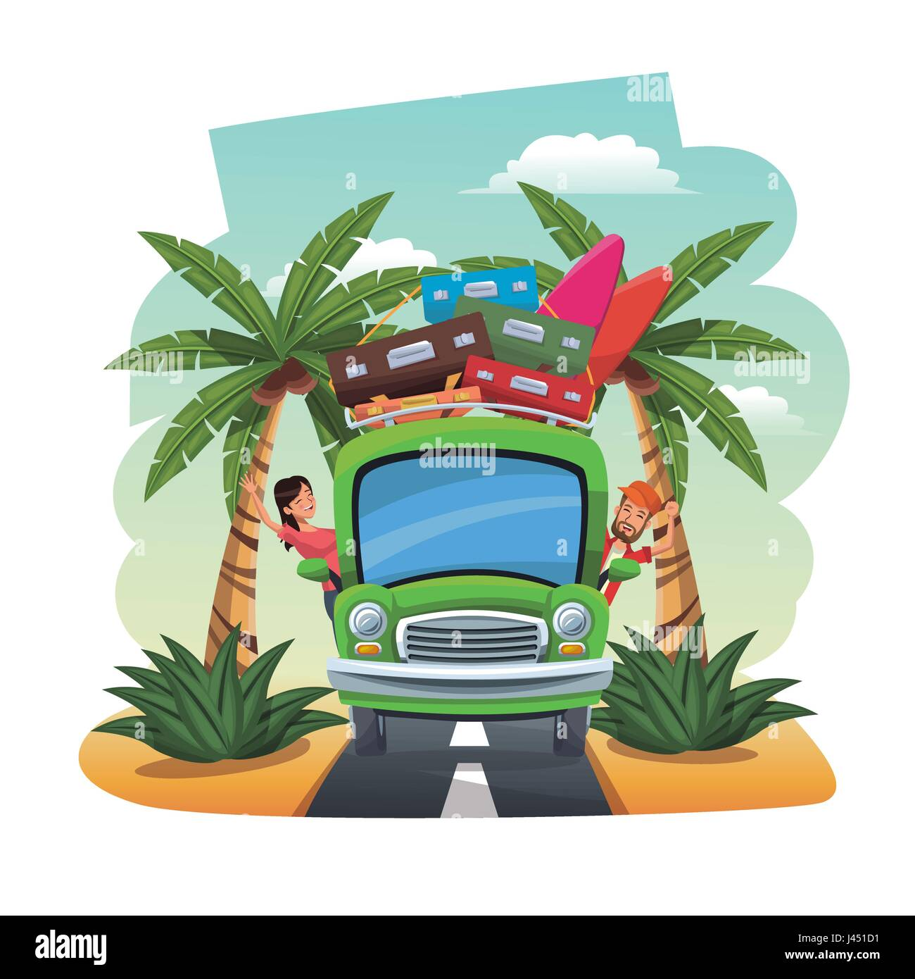 cartoon couple bus baggage surfboard on the tropical road - Stock Image