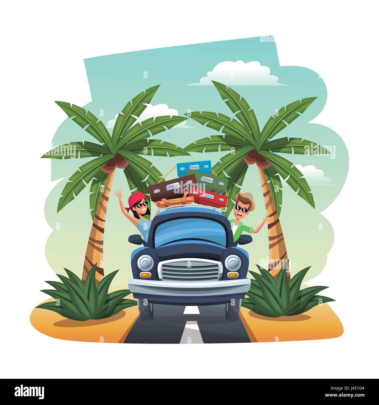 cartoon happy couple vintage car suitcases on the tropical road - Stock Image