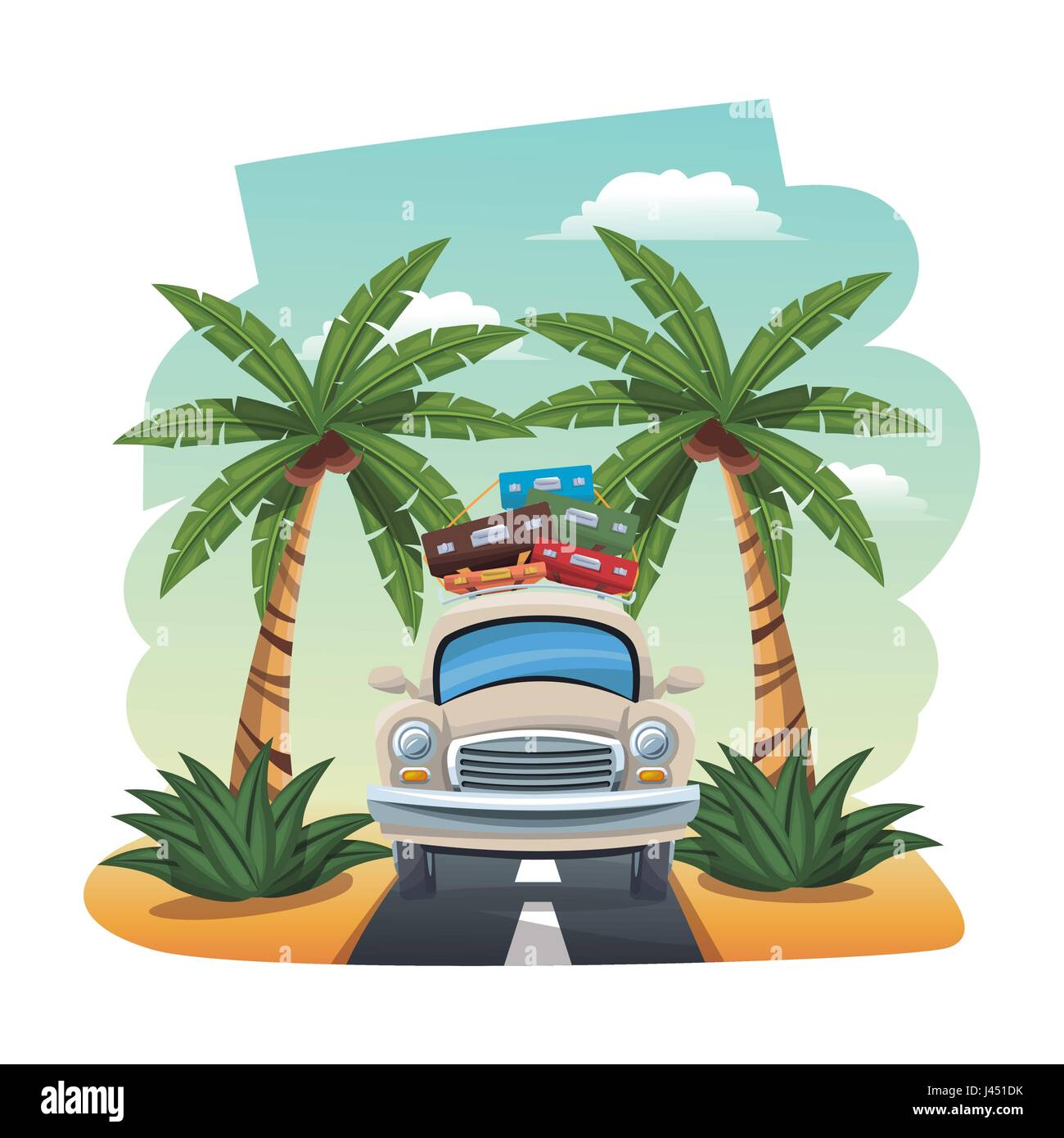 cartoon car with luggage on roof tropical road - Stock Image