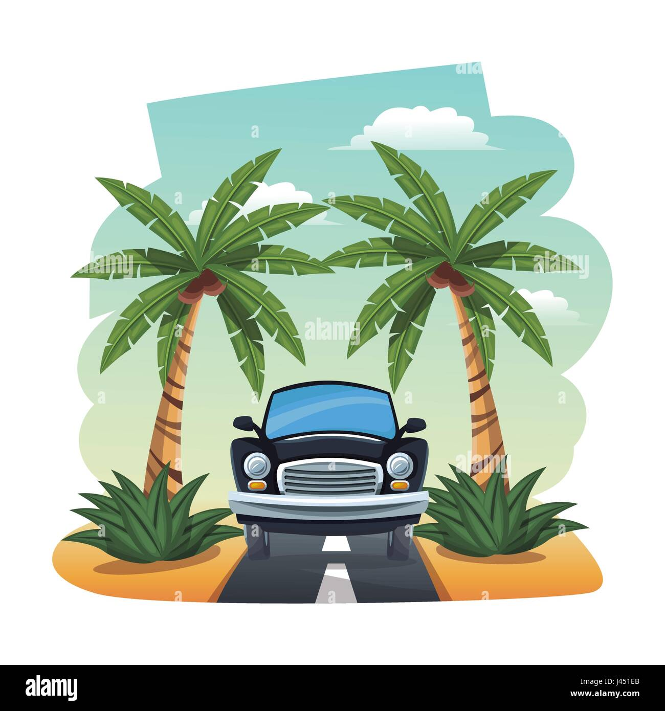 cartoon black car parked on the tropical road - Stock Image