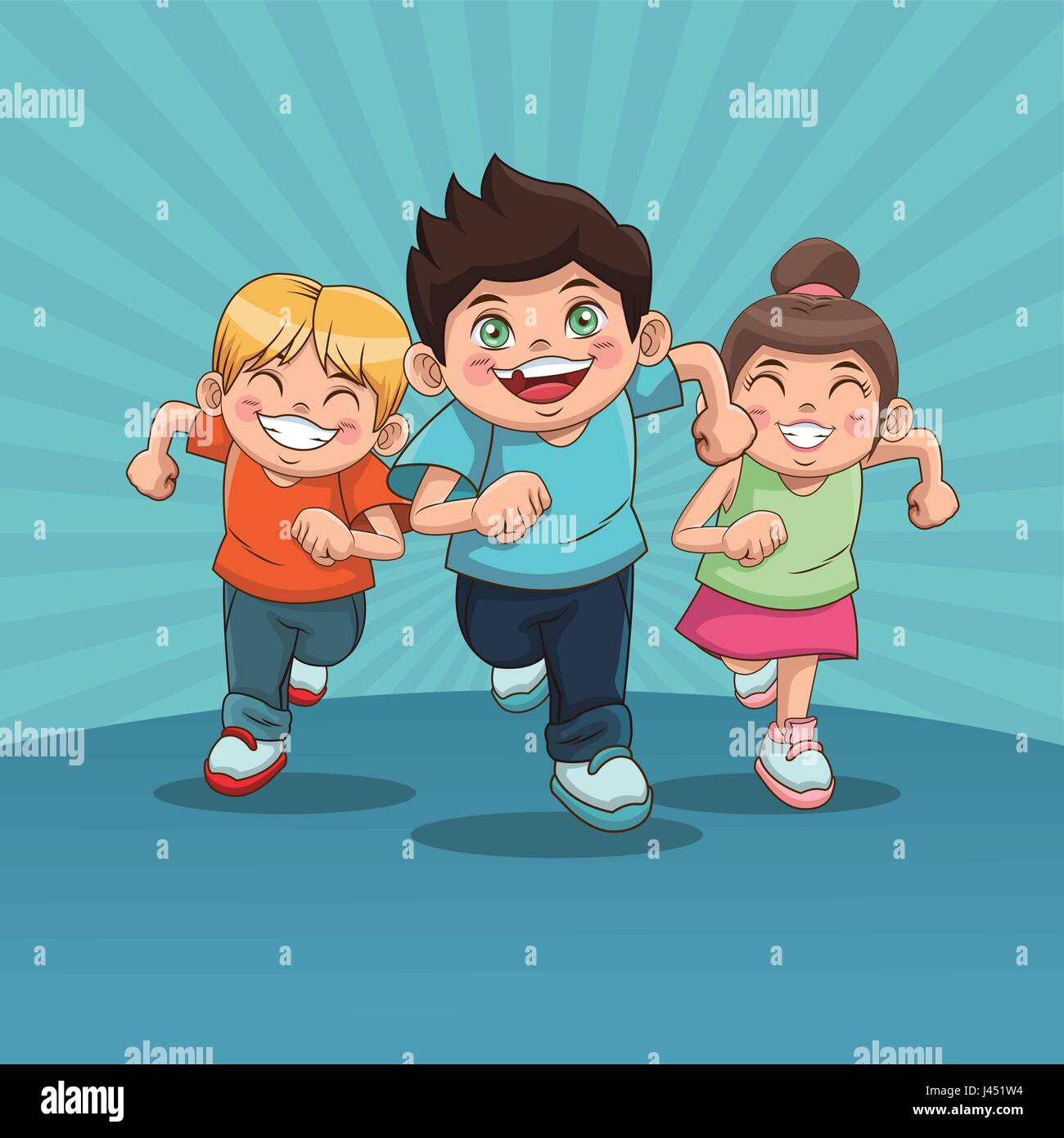 happy children day. group of happy running kids, boys and girls design - Stock Vector