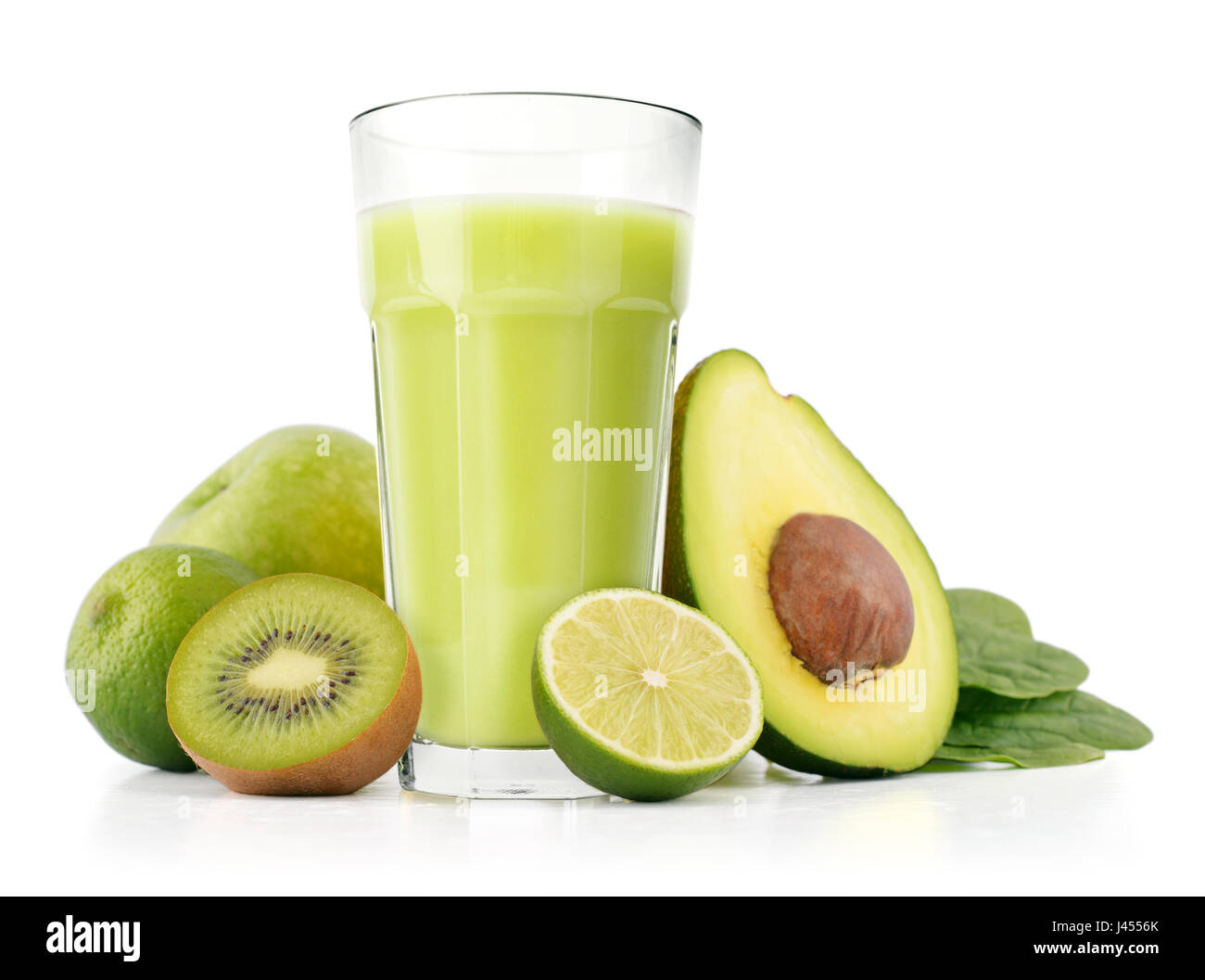 Healthy green smoothie with spinach, avocado, kiwi, apple and lime isolated on white - Stock Image