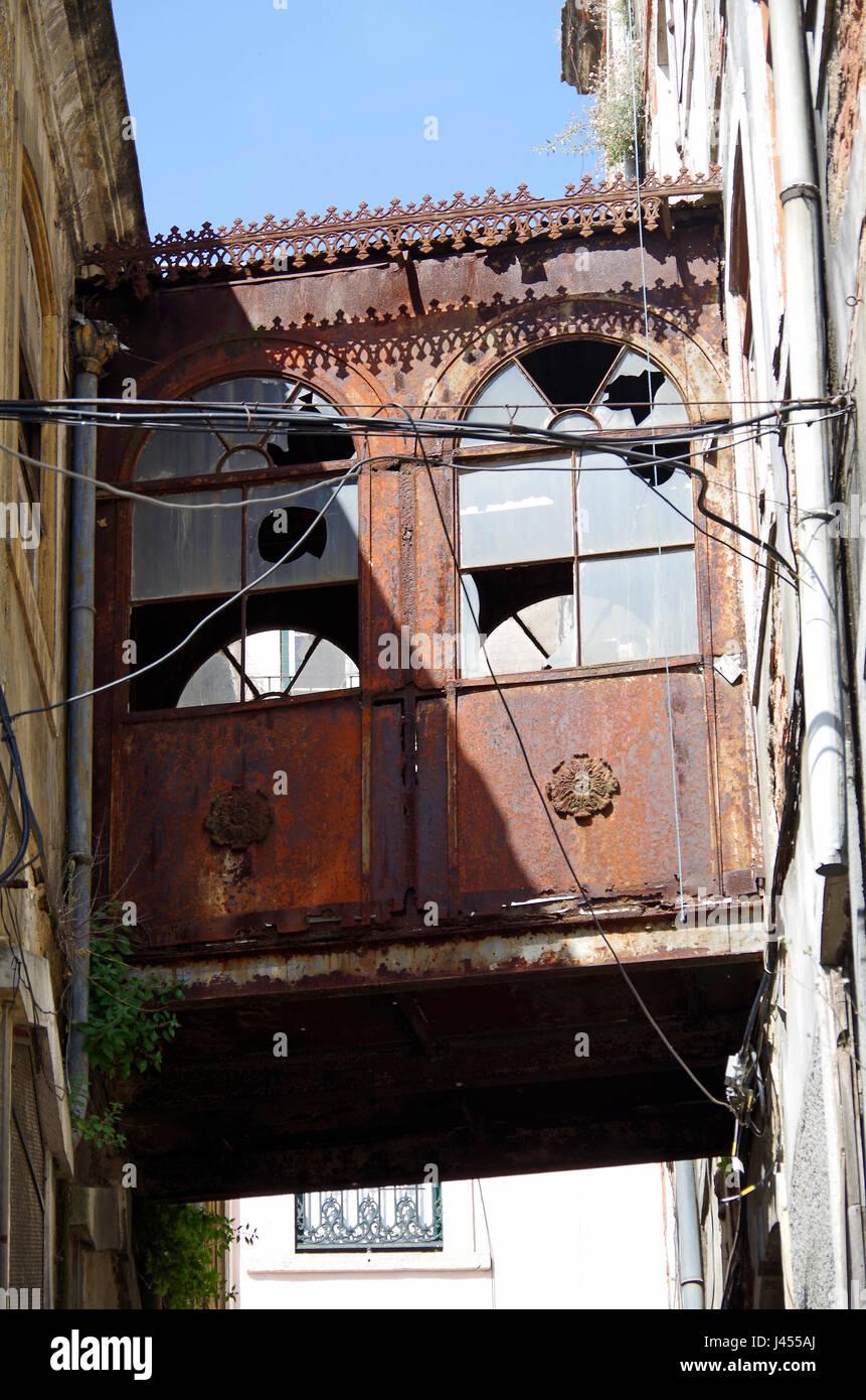 Buildings in Rua de Santa Barbara, Estafania quarter, buildings emptied and awaiting refurbishment or demolition, Stock Photo