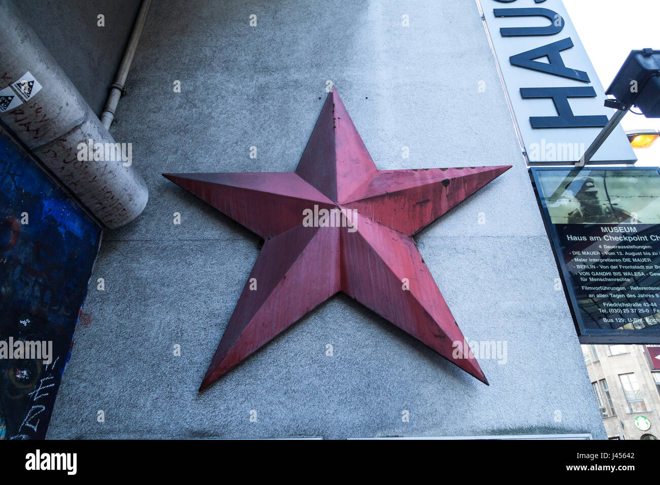 Red at souvenir at a DDR Museum at Checkpoint  Charlie in Berlin - Stock Image