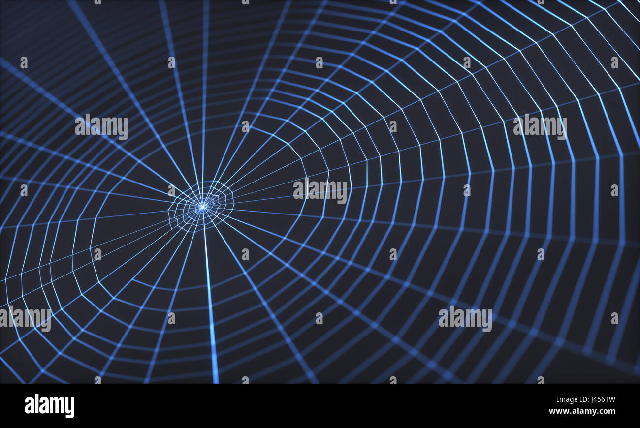 3D illustration. Spider web on black background. - Stock Image