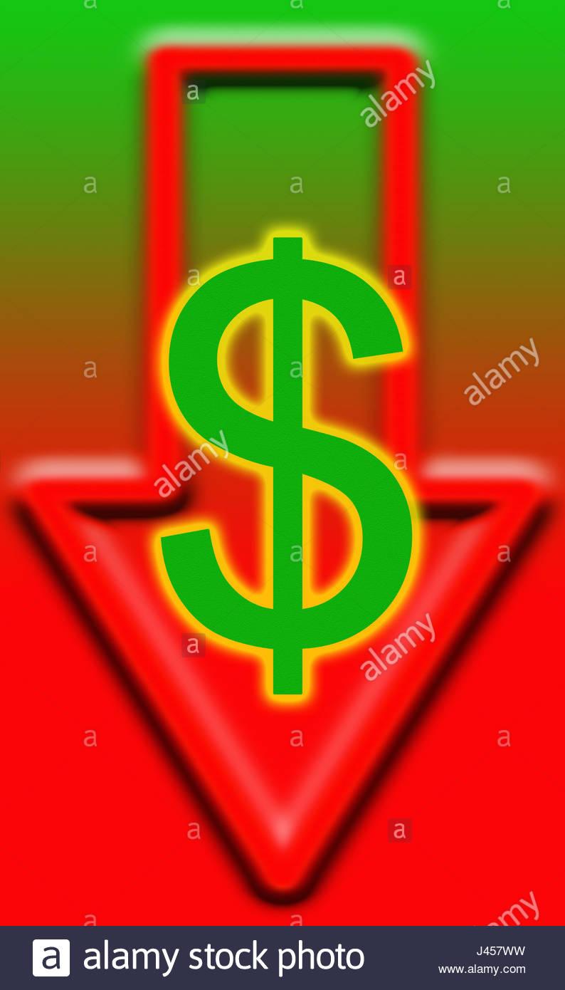 Us Dollar Currency Symbol With Down Arrow Stock Photo 140257541 Alamy