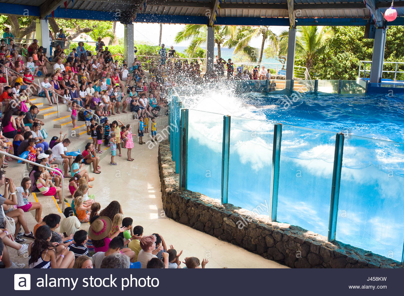 People watching the Dolphin performance at the Hawaii Ocean Theatre, Sea Life Park, Waimanalo, Oahu, Hawaii, USA - Stock Image