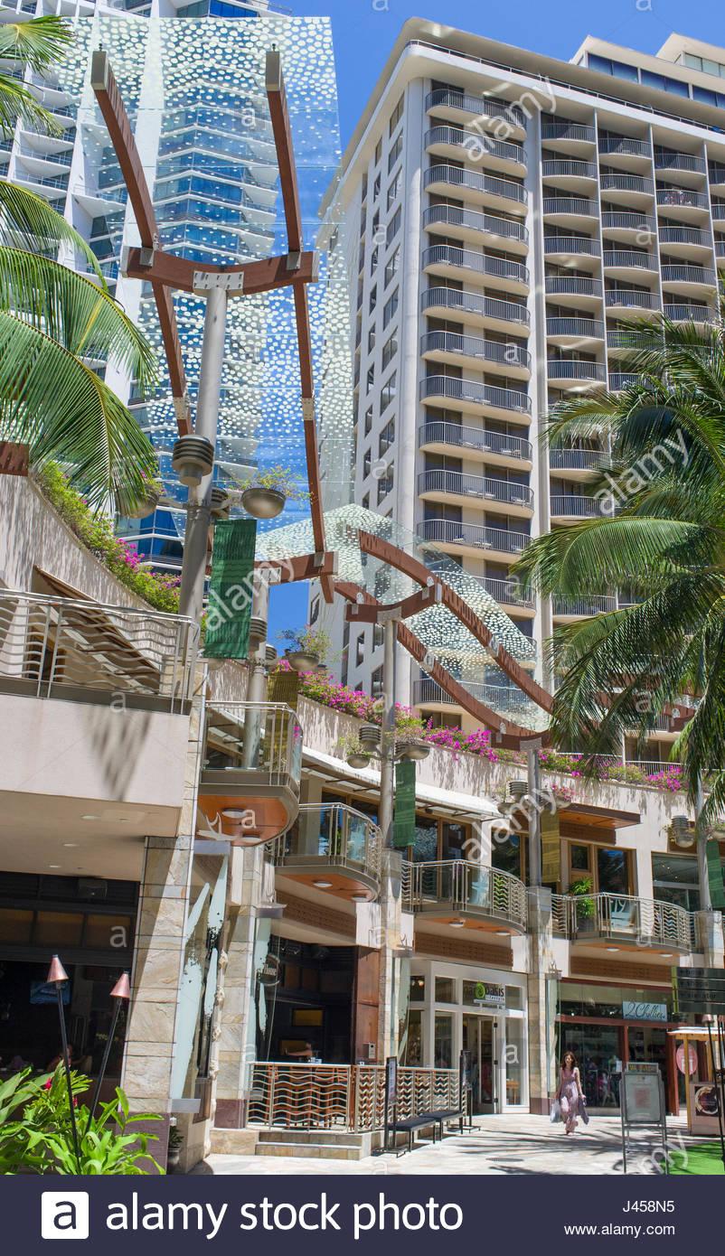 Shops And Restaurant At Waikiki Beach Walk On Lewers Street