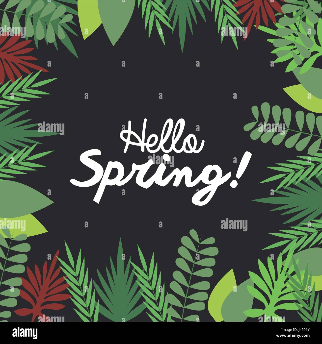 hello spring letter decorating, leaf natural dark background season - Stock Vector