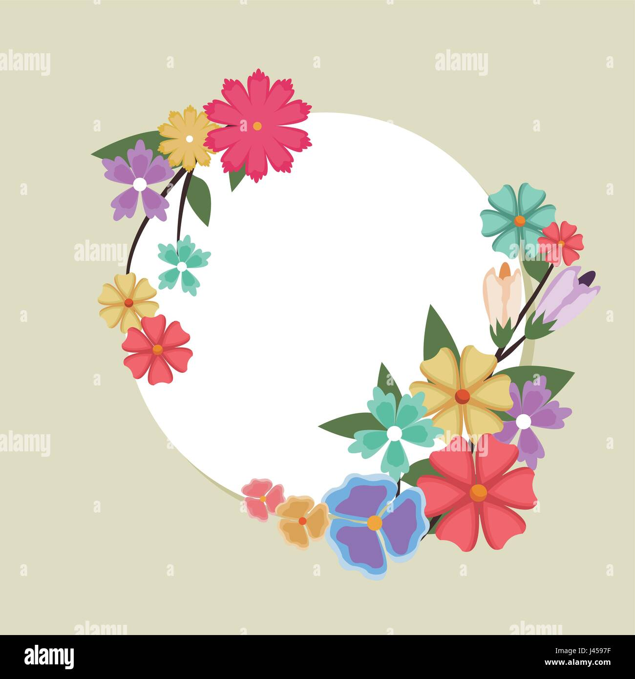 Beautiful Round Spring Flower Frame Banner With Natural Border