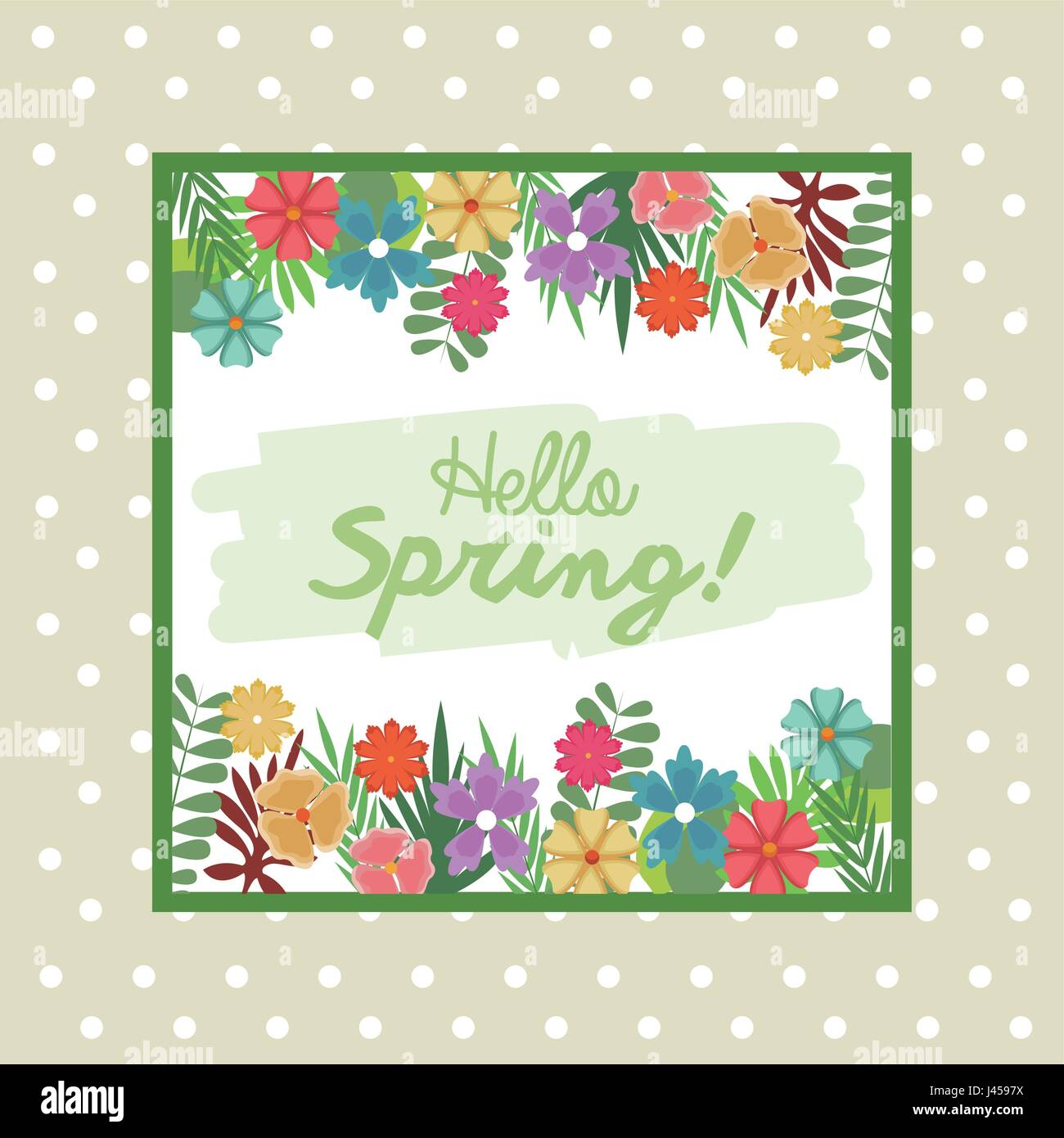 hello spring letter decorating leaf and flower, season - Stock Vector