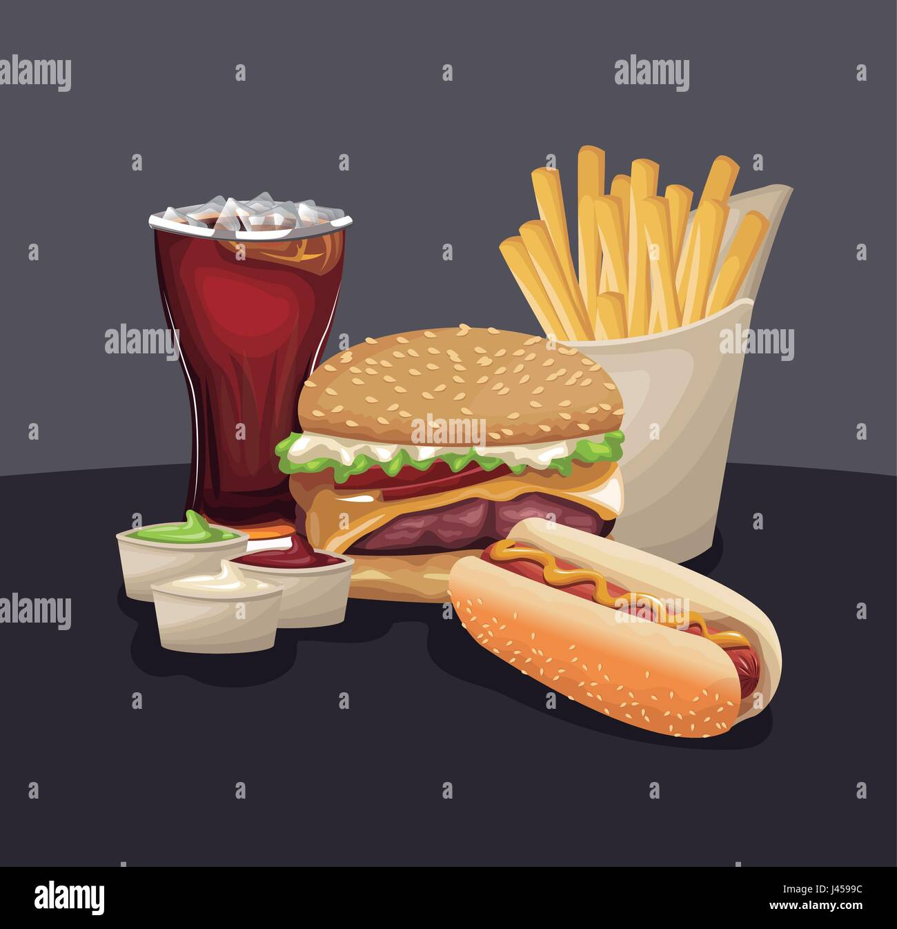 burger hot dog french fries soda sauces fast food eating - Stock Vector
