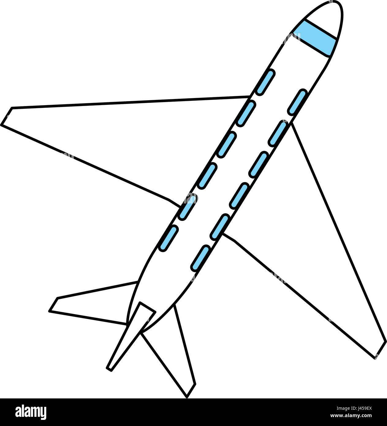 Color Silhouette Cartoon Top View Travel Airplane
