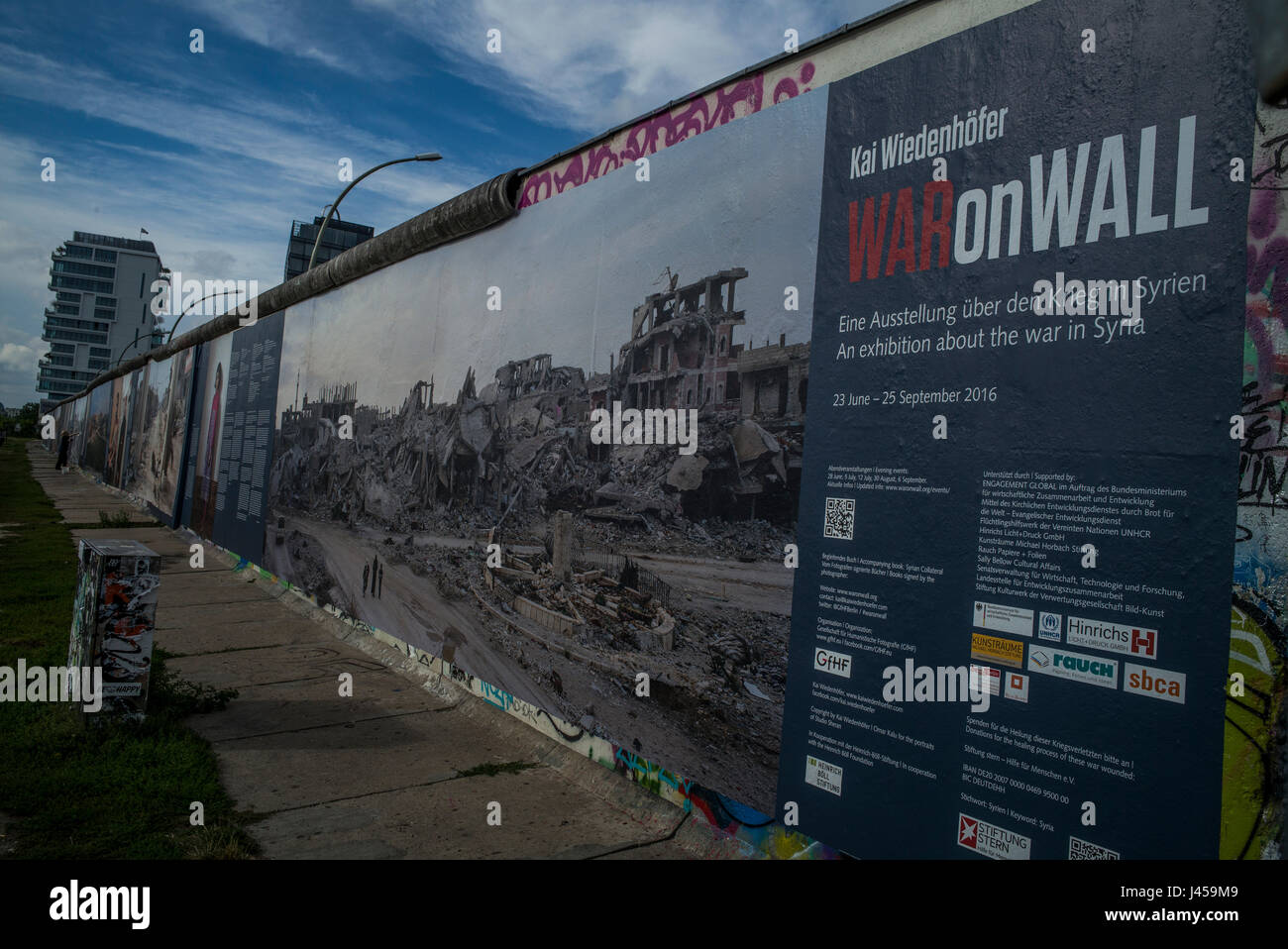 The 'War on Wall' consequences of the war in Syria exhibition by the German photographer Kai Weidenhofer - Stock Image