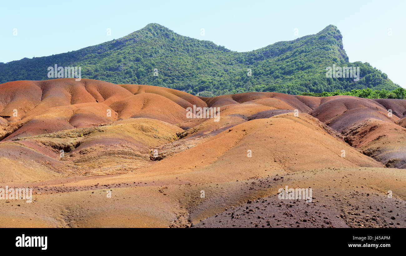 Mauritius.  Mascarene Islands.  Near Chamarel.  Terres de Sept Couleurs.  Chamarel Coloured Earths.  The different - Stock Image